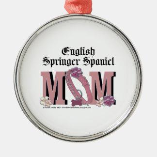English Springer Spaniel MOM Silver-Colored Round Decoration