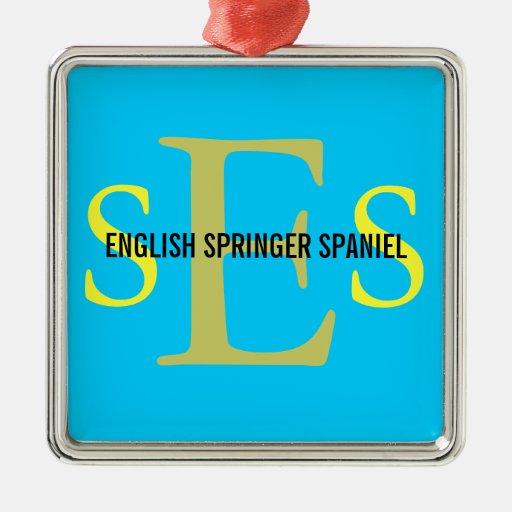 English Springer Spaniel Monogram Design Christmas Tree Ornaments