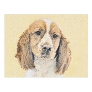 English Springer Spaniel Painting Original Dog Art Postcard