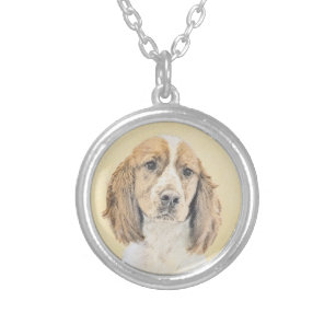 English Springer Spaniel Painting Original Dog Art Silver Plated Necklace