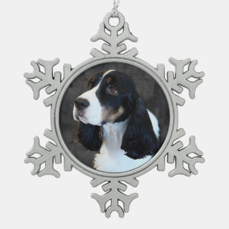 English Springer Spaniel Pewter Snowflake Decoration