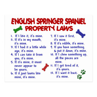 ENGLISH SPRINGER SPANIEL Property Laws 2 Postcard