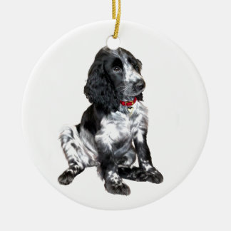 English Springer Spaniel Puppy - black and white Christmas Ornament