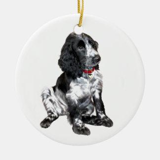 English Springer Spaniel Puppy - black and white Round Ceramic Decoration