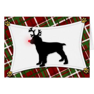 English Springer Spaniel Reindeer Christmas Card