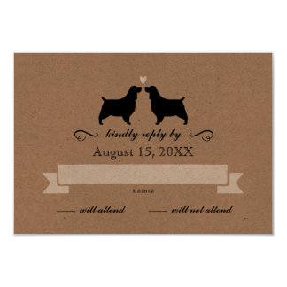 English Springer Spaniel Silhouettes Wedding RSVP Card