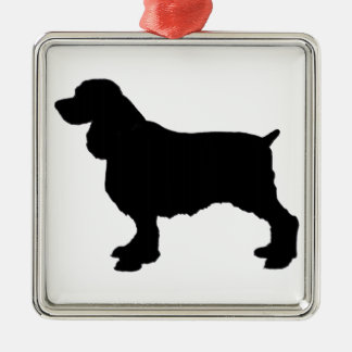 English Springer Spaniel Silhoutee, Freehand Drawn Silver-Colored Square Decoration