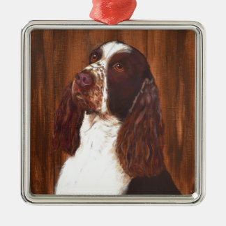 English Springer Spaniel Silver-Colored Square Decoration