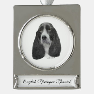 English Springer Spaniel Silver Plated Banner Ornament