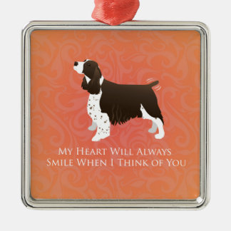 English Springer Spaniel Thinking of You -Memorial Silver-Colored Square Decoration