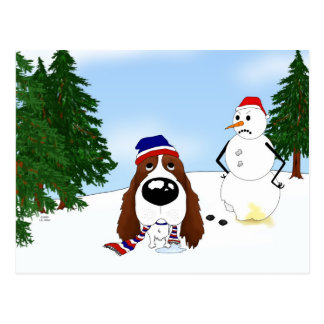 English Springer Spaniel Winter Scene Postcard
