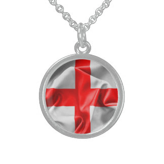 English St Georges Cross Flag Round Pendant Necklace