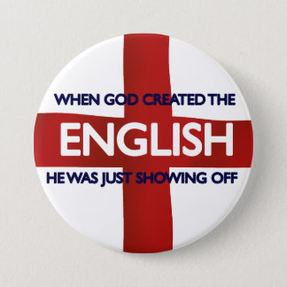 English St George's Day God Created 7.5 Cm Round Badge
