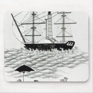 English Steamship at Canton, 1840 Mousepads