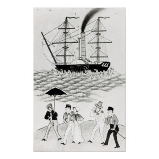 English Steamship at Canton, 1840 Poster