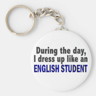 English Student During The Day Basic Round Button Key Ring