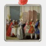 English Tea in the Salon des Quatre Glaces Silver-Colored Square Decoration