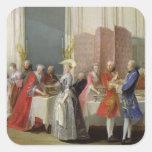 English Tea in the Salon des Quatre Glaces Square Sticker
