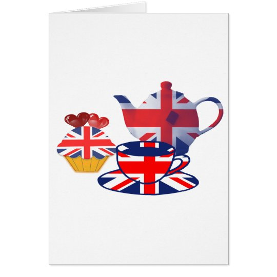 English Tea-time, Union Jack Art Gifts Card