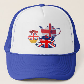 English Tea-time, Union Jack Art Gifts Trucker Hat