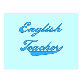 English Teacher Blue Text T-shirts and Gifts Postcard