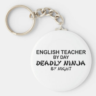 English Teacher Deadly Ninja Basic Round Button Key Ring