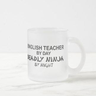 English Teacher Deadly Ninja Frosted Glass Coffee Mug