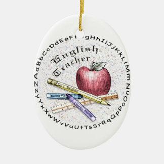 English Teacher oval Ceramic Ornament