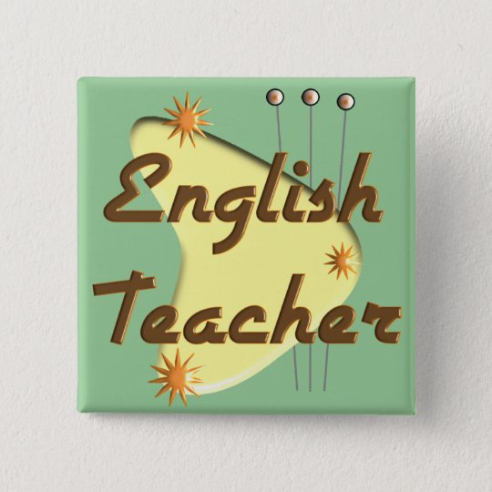 English Teacher Retro Style Gifts 15 Cm Square Badge