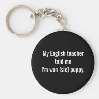 English teacher says... basic round button key ring