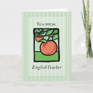 English Teacher Thank You, Apple Thank You Card