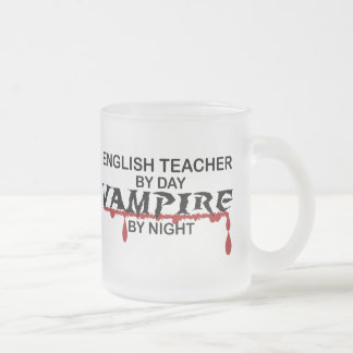 English Teacher Vampire by Night Frosted Glass Coffee Mug
