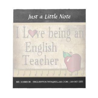 English Teacher   Vintage Style Notepad