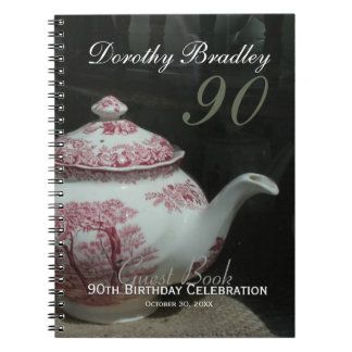 English Teapot 90th Birthday Party Guest Book Spiral Note Books