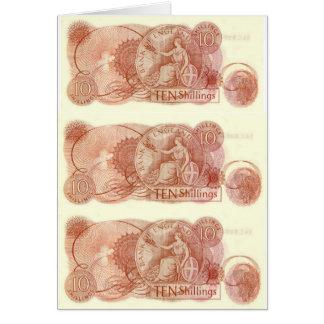English Ten Shilling Note Greeting Card