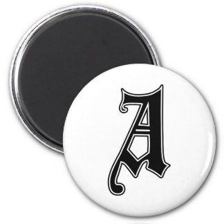 English text Gothic Monogram letter A Magnet