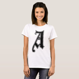 English text Gothic Monogram letter A T-Shirt