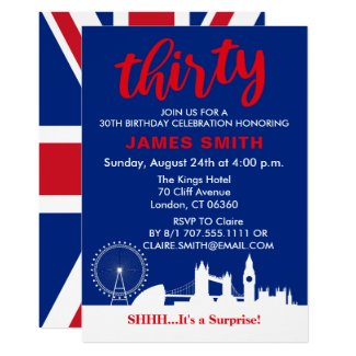 English Theme 30th Birthday Party Invitation