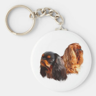 English Toy Spaniel Basic Round Button Key Ring