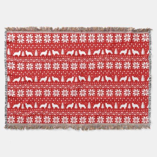 English Toy Spaniel Silhouettes Christmas Pattern Throw Blanket