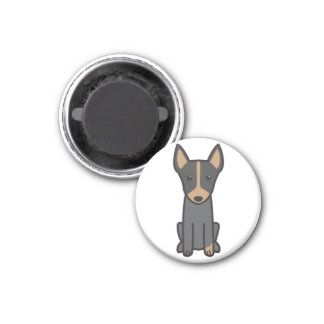 English Toy Terrier Dog Cartoon 3 Cm Round Magnet