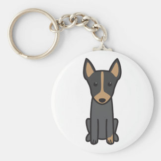 English Toy Terrier Dog Cartoon Basic Round Button Key Ring