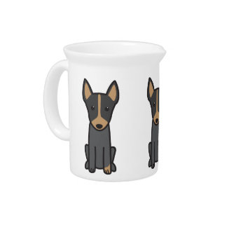 English Toy Terrier Dog Cartoon Pitcher