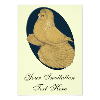 English Trumpeter:  Yellow Oval 5x7 Paper Invitation Card