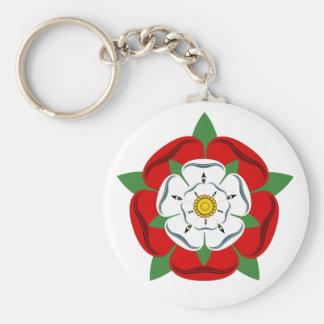 English Tudor Rose Basic Round Button Key Ring