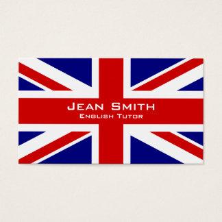 English Tutor / English Teacher With UK Flag Business Card