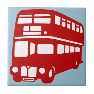 English two-floor bus small square tile