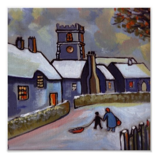 English Village Snowscene Poster