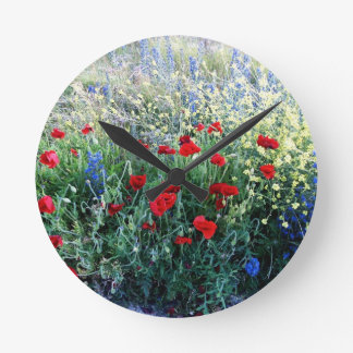 English Wildflowers Round Clock