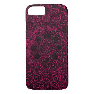 Engraved Decorative Pink Demon Lotus Mandala iPhone 7 Case